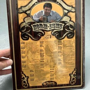 Norm from Cheers TV memorabilia tin sign